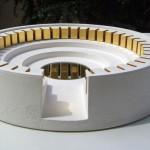 « Aube 2 » 2010. Sculpture en plâtre, âme en bois dorée à la feuille, miroir. Diamètre 45 cm, hauteur 9 cm.