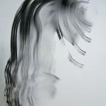 Cheveux du mannequin Miss UU. Fusain sur Ingres 65x 50 Triptyque 2011. Collection particulière Shanghai