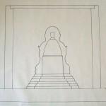 Plans sur le sculpture du Bouddha et de la niche. 2008.  JC Pigeau. Baca.Yucatan. Mexique.