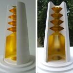 Colonne céleste 2010. Projet de sculpture monumentale au 1/10ème. Feuille d'or sur plâtre.