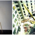 À gauche, maquette. À droite, projet dessiné sur photocopie couleur issue de photographies/repèrages lors de la construction en 1992.