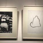 Stenope du site bouddhique de Longmen 2015 avec à droite « Vide méditatif 2015. Dessin mémorable au fusain sur Ingres.